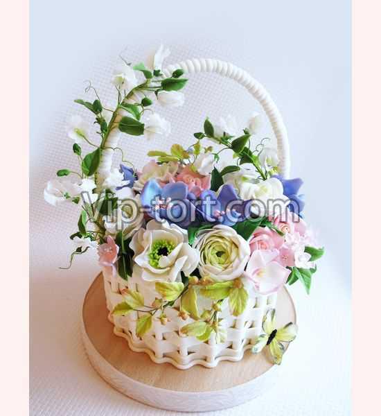 Торт-корзина с цветами фото