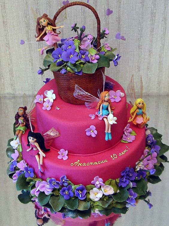 Детский торт u0026 винкс фиалкиu0026