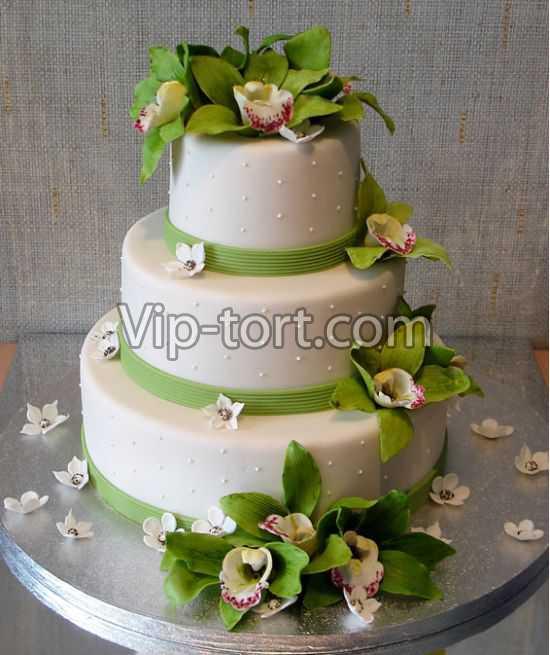 Эксклюзивный свадебный торт зеленая