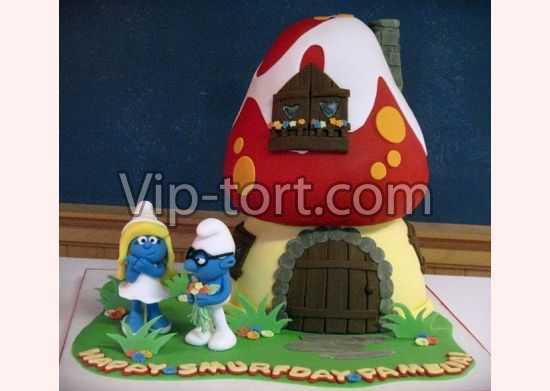 Детский торт смурфики фото