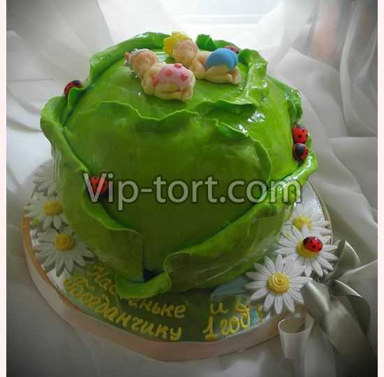 """Торт на 1 год  """"Двойняшки в капусте """". .  Наша цена: 7375 руб. .  Состав: мука, сахар, яйцо, сливки, вишня..."""