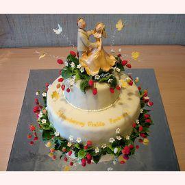 """Эксклюзивный свадебный торт """"Влюбленные на поляне"""""""