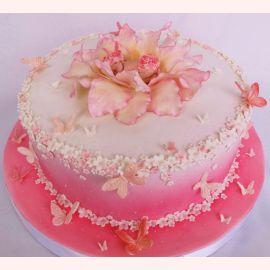 "Торт на рождение девочки ""Розовое сияние"""