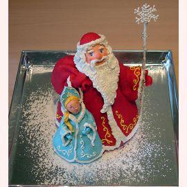 """Торт на Новый год """"Дед Мороз и Снегурочка"""""""