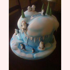 """Торт на Новый год """"Пингвинчики на горке"""""""