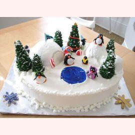"""Торт на Новый год """"Пингвинчики в лесу"""""""