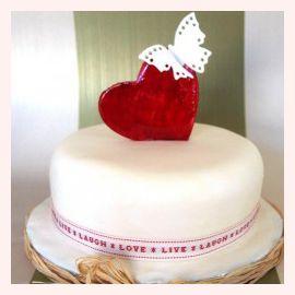 """Торт для влюбленных """"Сердце и бабочка"""""""