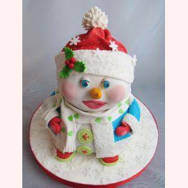 """Новогодний торт """"Снеговичок для девочки"""""""