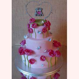 """Торт для влюбленных """"Мишки в цветах"""""""