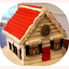 """Торт на Новый год """"Домик Санты"""""""