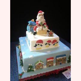 """Торт на Новый год """"Санта на трубе"""""""