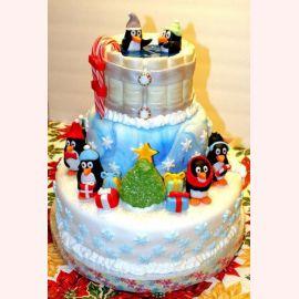"""Торт на Новый год """"Новогодние пингвины"""""""