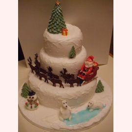 """Торт на Новый год """"Санта на Северном полюсе"""""""