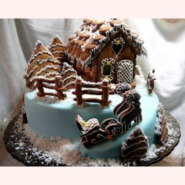 """Торт на Новый год """"Пряничный домик"""""""