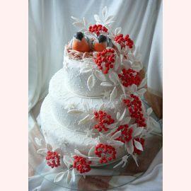 """Торт на Новый год """"Снегири"""""""