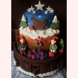 """Торт на Новый год """"Помощники Санты"""""""