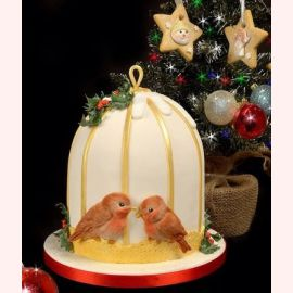 "Торт на Новый год ""Зимние пташки"""