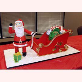 """Торт на Новый год """"Сани Деда Мороза"""""""