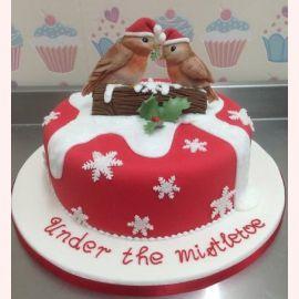 """Торт на Новый год """"Новогодние снегири"""""""