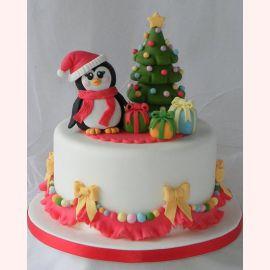 """Торт на Новый год """"Милый пингвинчик"""""""