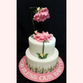 """Торт """"Розовый цветок и малышка"""""""