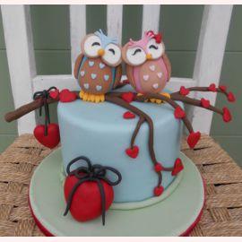 """Торт для влюбленных """"Совушки голубушки"""""""