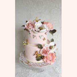 "Торт ""Бабочки на цветах"""