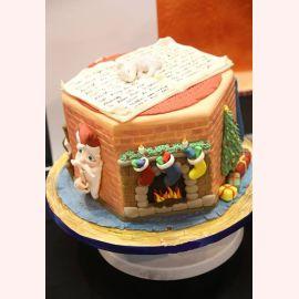 """Торт на Рождество """"Камин на рождество"""""""