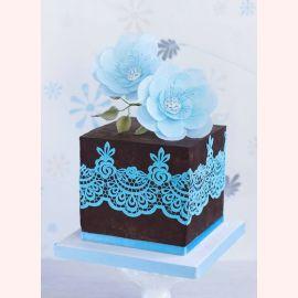"""Торт """"Голубые узоры"""""""