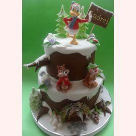 """Новогодний торт """"Чип и Дэйл, Дональд в лесу"""""""