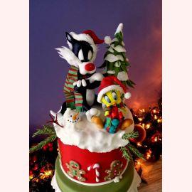 "Новогодний торт ""Твитти и Сильвестр на елке"""