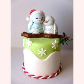 """Торт на Новый год """"Новогодние птички"""""""