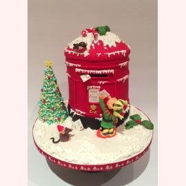 """Новогодний торт """"Письмо от эльфа для Санты"""""""
