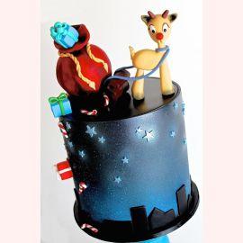 """Торт на Новый год """"Рудольф и подарки"""""""