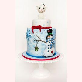 "Новогодний торт ""Снеговик и овечка"""