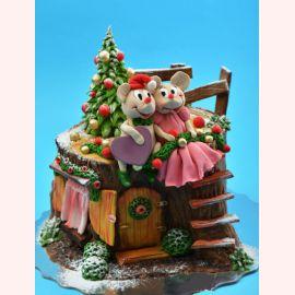 """Торт на Новый Год """"Мыши у елочки"""""""