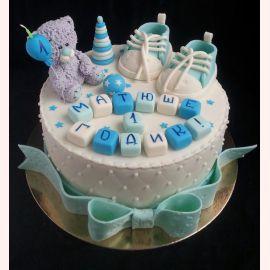 """Торт на 1 годик """"Голубые пинетки"""""""