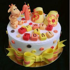 """Торт на 1 годик """"Желтые пинетки"""""""