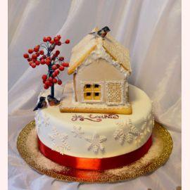 """Торт на Новый год """"Рябина и пряничный домик"""""""