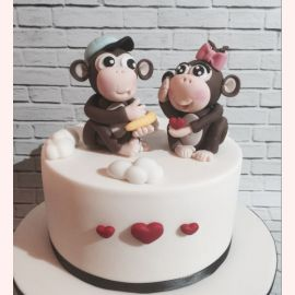 """Торт для влюбленных """"Влюбленные обезьянки"""""""