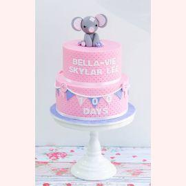 "Торт на 100 дней ""Слоник с цветком"""