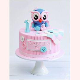 """Торт на 1 годик """"Голубая сова"""""""