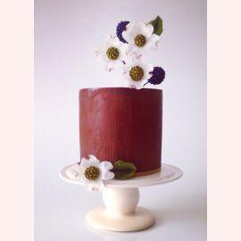"""Торт """"Ежевика с белыми цветами"""""""