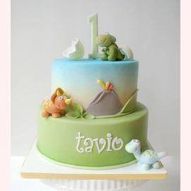 """Торт на 1 год """"Три динозавра"""""""