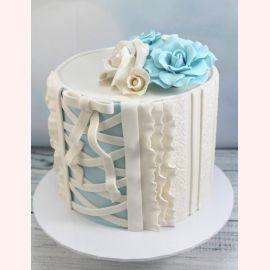"""Торт """"Голубая розочка на корсете"""""""