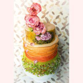 """Торт """"Нарисованные маслом цветы и зелень"""""""
