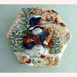 """Новогодний торт """"Снеговик с птицами"""""""