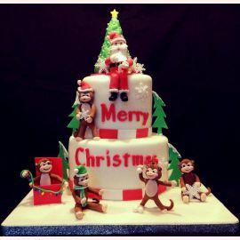 """Торт на Новый Год """"Дед мороз и символ года"""""""