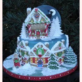 "Новогодний торт ""Пряничная улица"""