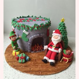 """Торт на Новый Год """"Дедушка у камина"""""""